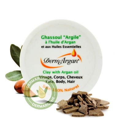 Natural Clay powder. Purifying Mask. Skincare for Body, Hair and Face - Ghassoul with organic argan oil, For Hammam